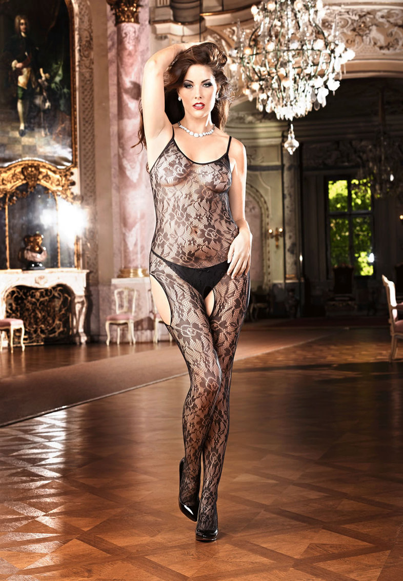 Flower Lace Bodystocking - Q (disc)